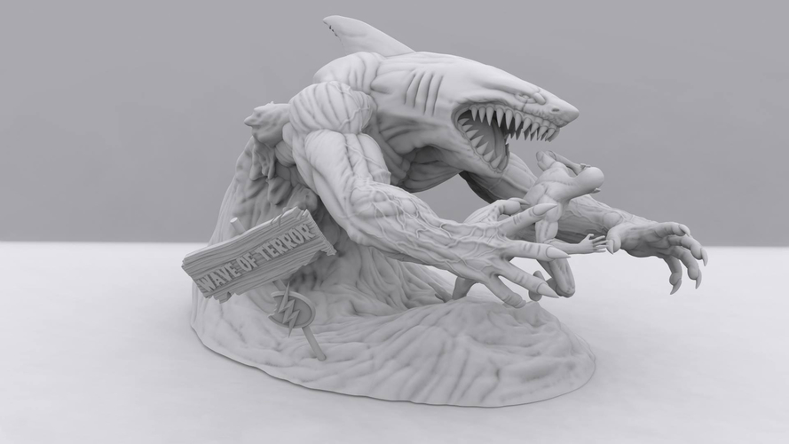 Flash vs the King Shark 3D Print 242331