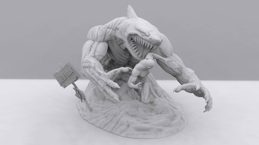 Flash vs the King Shark 3D Print 242333