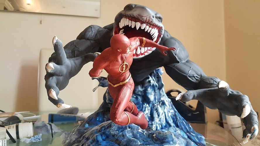 Flash vs the King Shark 3D Print 242337
