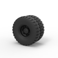 Small Diecast Double wheel 3 3D Printing 242531