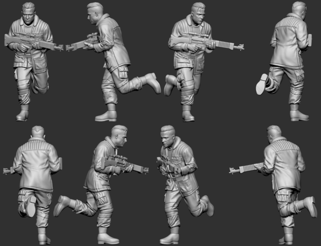 hf wargaming Militia heift running with LMG 3D Print 242827