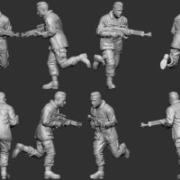 Small hf wargaming Militia heift running with LMG 3D Printing 242827