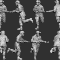 Small hf wargaming Militia running with LMG 3D Printing 242831
