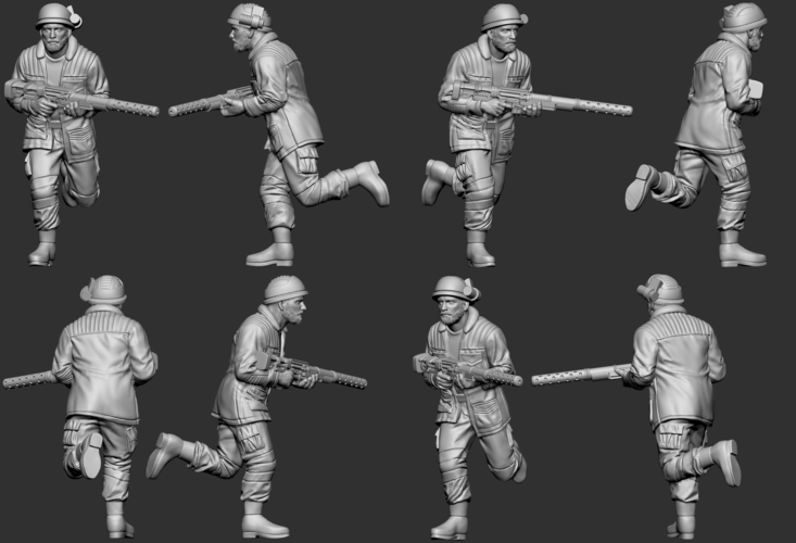 hf wargaming Militia running with helmet and HMG 3D Print 242834