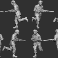 Small hf wargaming Militia running with helmet and HMG 3D Printing 242834
