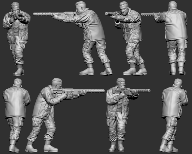 hf wargaming Militia Heift shooting with HMG 3D Print 242835