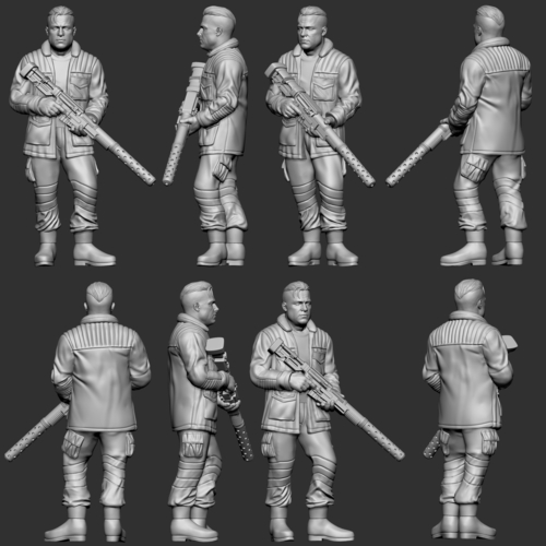 hf wargaming Militia Heift standing with HMG 3D Print 242836