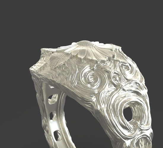 Jewelry Flower Ring 3D Print 243544