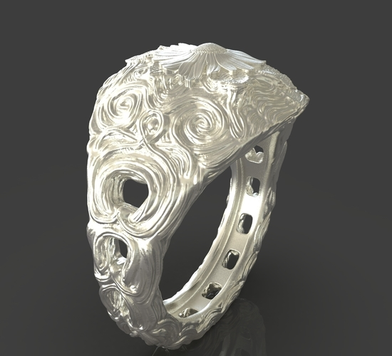 Jewelry Flower Ring 3D Print 243548