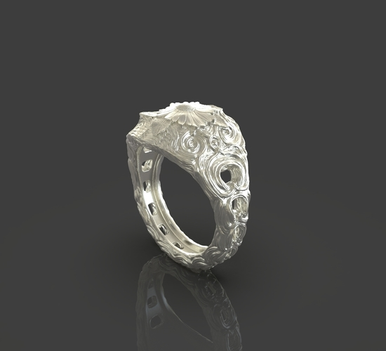 Jewelry Flower Ring 3D Print 243549