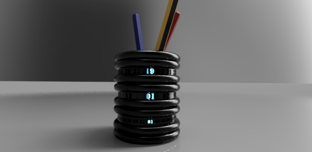 Pen holder calendar with LED 3D Print 243811