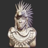 Small Aztec Warrior Bust 3D Printing 243870