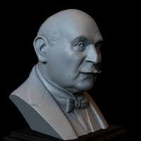 Small Hercule Poirot, David Suchet, bust, portrait, 153mm 3D Printing 244397