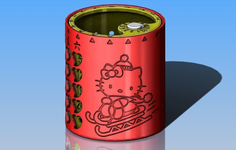 Hello Kitty Perpetual Calendar Pen Holder 3D Print 244495
