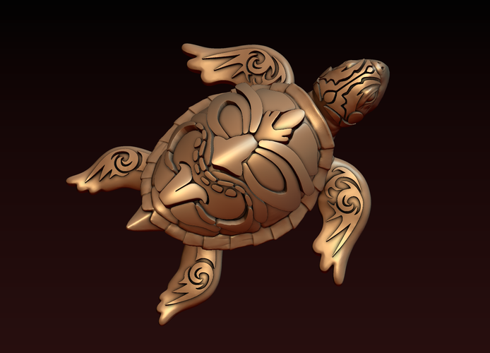 Turtle with Tiki Mask Ornament 3D Print 244568
