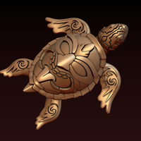 Small Turtle with Tiki Mask Ornament 3D Printing 244568