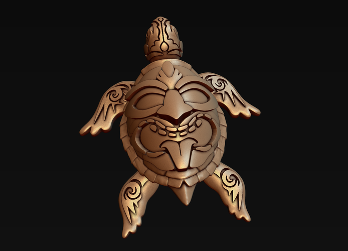 Turtle with Tiki Mask Ornament 3D Print 244570
