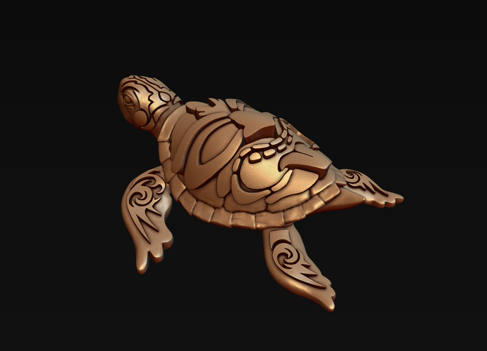 Turtle with Tiki Mask Ornament 3D Print 244571