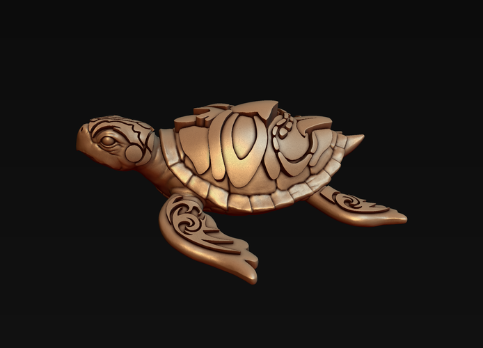 Turtle with Tiki Mask Ornament 3D Print 244572