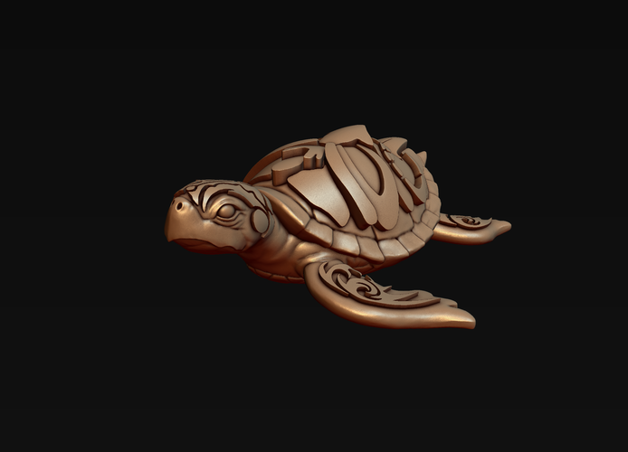 Turtle with Tiki Mask Ornament 3D Print 244573
