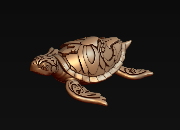 Turtle with Tiki Mask Ornament 3D Print 244577