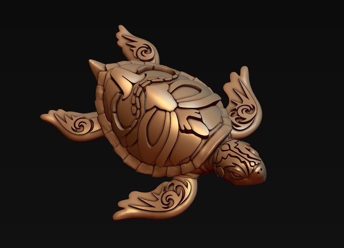 Turtle with Tiki Mask Ornament 3D Print 244578