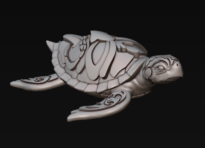 Turtle with Tiki Mask Ornament 3D Print 244588