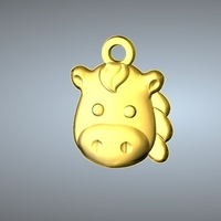 Small Q1 TYPE 07-HORSE PENDANT 3D Printing 244765
