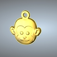 Small Q1 TYPE 09-MONKEY PENDANT 3D Printing 244767