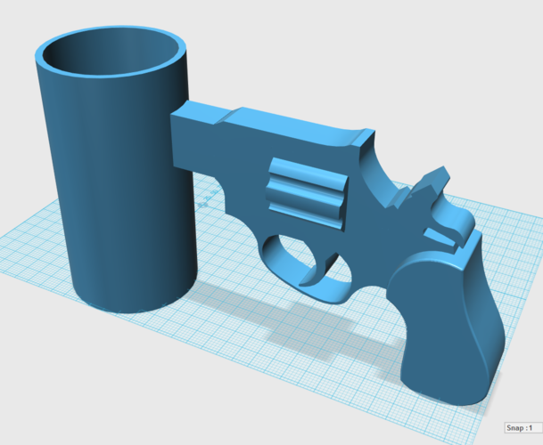 Cup with Gun Handle 3D Print 24506