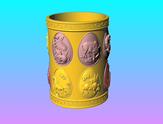 Arc face Chinese zodiac  PEN HOLDER 3D Print 245266