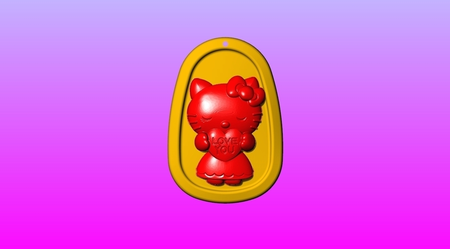Kitty Key ring pendant 1-3 3D Print 245551