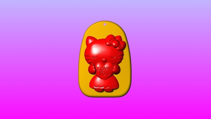 Kitty Key ring pendant 1-3 3D Print 245552
