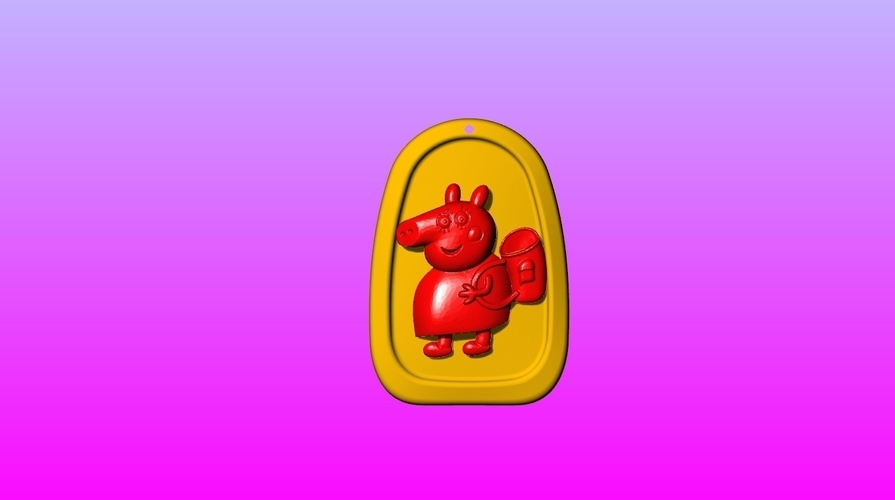 Pig mother Key ring pendant 1-3 3D Print 245572