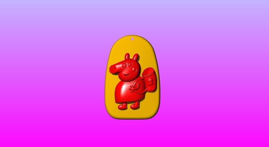 Pig mother Key ring pendant 1-3 3D Print 245573