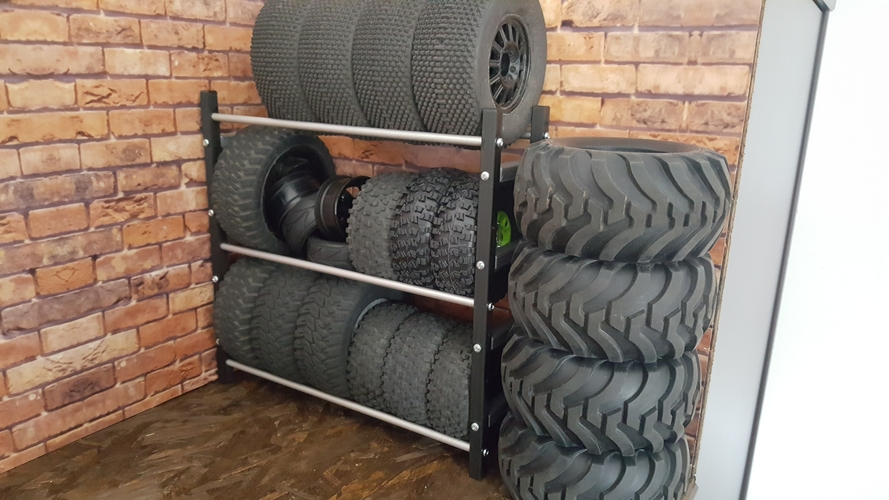 RC tire shelf 1/10​ for Crawler Scaler Trucks Cars 3D Print 246125