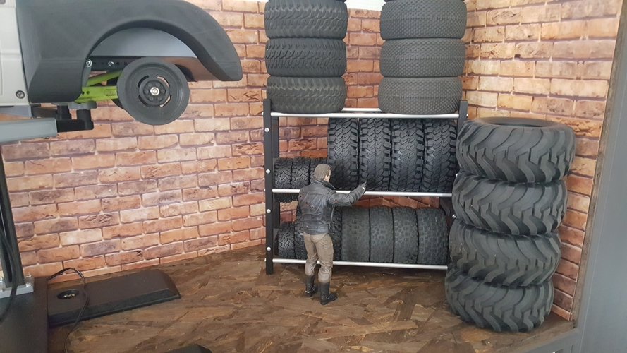 RC tire shelf 1/10​ for Crawler Scaler Trucks Cars 3D Print 246127
