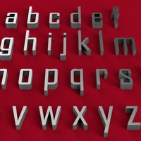 Small AGENCY font lowercase 3D letters STL file 3D Printing 246208