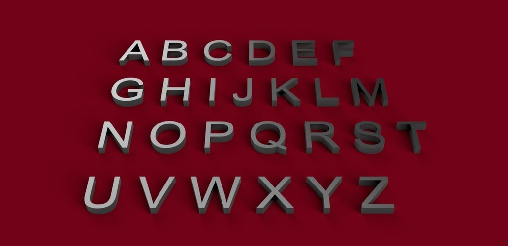 ARIAL font uppercase 3D letters STL file  3D Print 246211