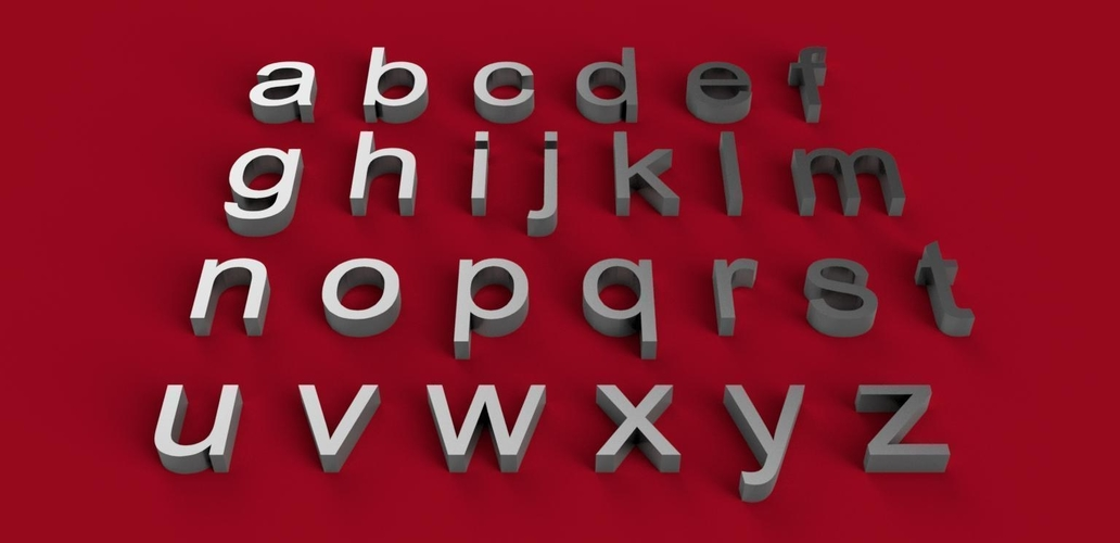 ARIAL font lowercase 3D letters STL file 3D Print 246217