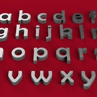 Small BERLIN SANS font lowercase 3D letters STL file 3D Printing 246244