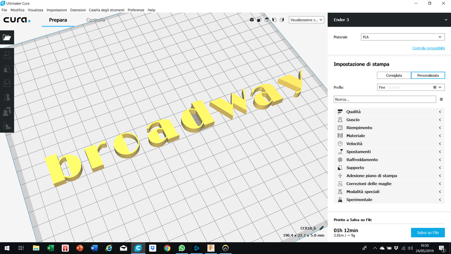 BROADWAY font lowercase  3D letters STL file 3D Print 246279
