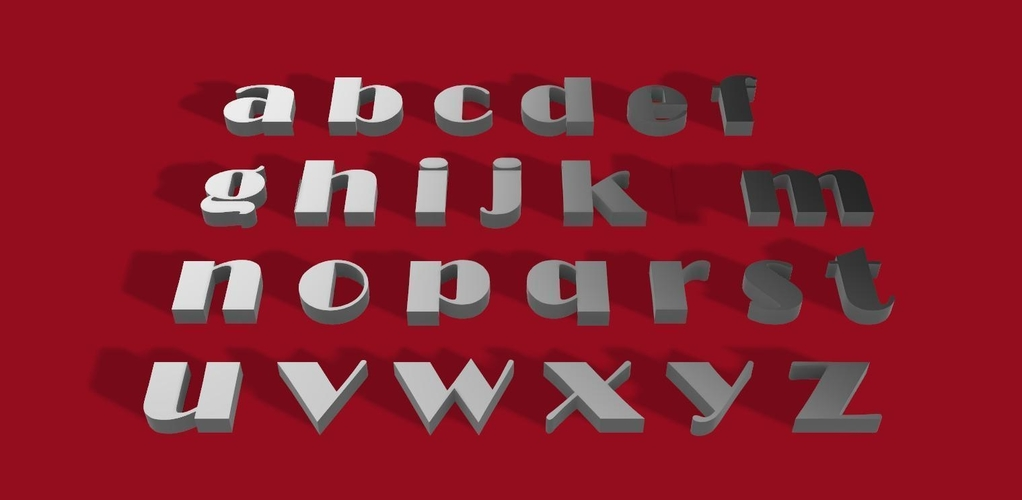 BROADWAY font lowercase  3D letters STL file 3D Print 246280
