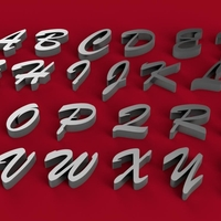Small BRUSH SCRIPT font uppercase 3D letters  STL file 3D Printing 246283