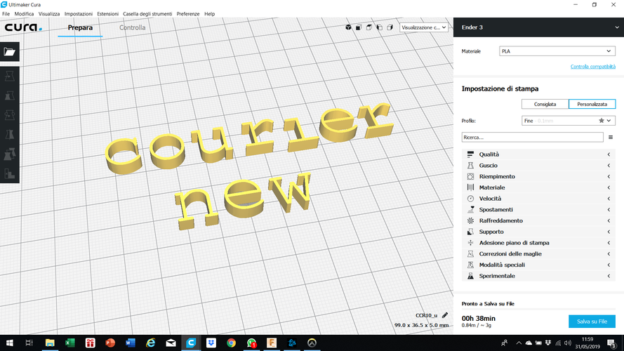 COURIER NEW font lowercase 3D letters STL file 3D Print 246297
