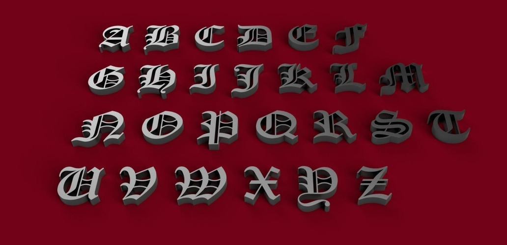 OLD ENGLISH font uppercase 3D letters STL file  3D Print 246336