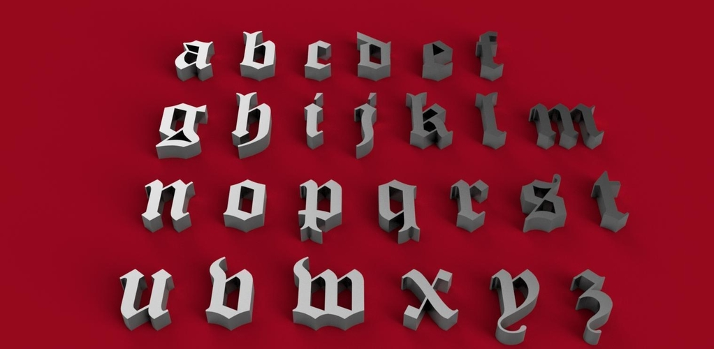 OLD ENGLISH font lowercase 3D letters STL file 3D Print 246345
