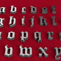 Small OLD ENGLISH font lowercase 3D letters STL file 3D Printing 246345