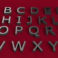 Small VERDANA font uppercase 3D letters STL file  3D Printing 246391