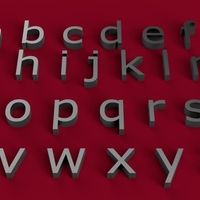 Small VERDANA font lowercase 3D letters STL file 3D Printing 246394